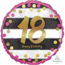 18th Birthday Pink & Gold Milestone Standard Holographic Foil Balloon