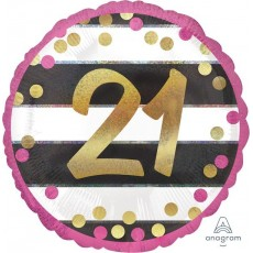 Round 21st Birthday Pink & Gold Milestone Standard Holographic Foil Balloon 45cm