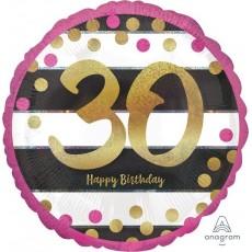 Round 30th Birthday Pink & Gold Milestone Standard Holographic Foil Balloon 45cm
