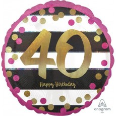40th Birthday Pink & Gold Milestone Standard Holographic Foil Balloon