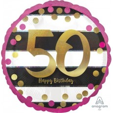 50th Birthday Pink & Gold Milestone Standard Holographic Foil Balloon 45cm
