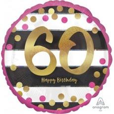 60th Birthday Pink & Gold Milestone Standard Holographic Foil Balloon