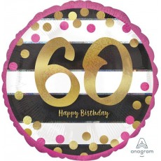 60th Birthday Pink & Gold Standard Holographic Foil Balloon
