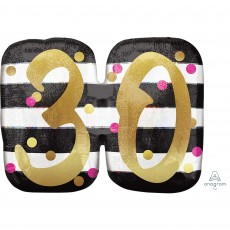 30th Birthday Pink & Gold Milestone SuperShape Holographic Shaped Balloon 63cm x 50cm