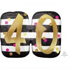 40th Birthday Pink & Gold Milestone SuperShape Holographic Shaped Balloon 63cm x 50cm