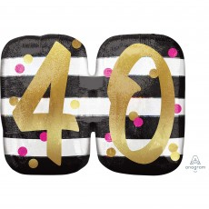40th Birthday Pink & Gold SuperShape Holographic Shaped Balloon