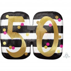 50th Birthday Pink and Gold Milestone SuperShape Holographic Shaped Balloon 63cm x 50cm