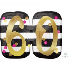 60th Birthday Pink & Gold Milestone SuperShape Holographic Shaped Balloon