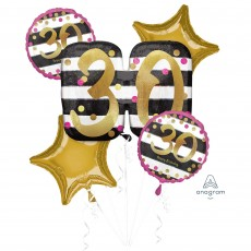30th Birthday Pink & Gold Milestone Bouquet Foil Balloons Pack of 5