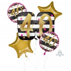 40th Birthday Pink & Gold Milestone Bouquet Foil Balloons Pack of 5