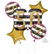 50th Birthday Pink and Gold Milestone Bouquet Foil Balloons Pack of 5