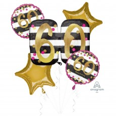 60th Birthday Pink & Gold Milestone Bouquet Foil Balloons Pack of 5