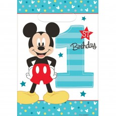 Mickey Mouse 1st Birthday Fun To Be One Folded Loot Favour Bags 23cm Pack of 8