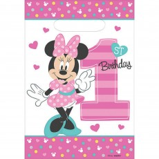 Minnie Mouse 1st Birthday Fun To Be One Folded Loot Favour Bags 23cm Pack of 8