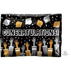 Graduation Junior Cap Toss Congratulations! Shaped Balloon 40cm x 30cm