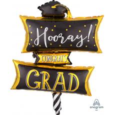 Graduation SuperShape XL Hooray! Congrats Grad Shaped Balloon 58cm x 81cm