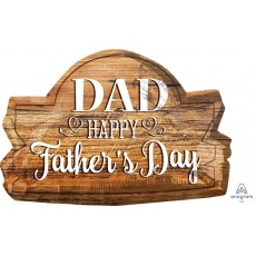 SuperShape Wood Marquee Dad Happy Father's Day Shaped Balloon 71cm x 45cm