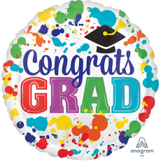 Round Graduation Jumbo HX Paint Splotch Congrats Grad Foil Balloon 71cm