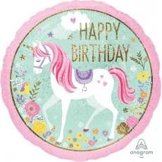 Round Magical Unicorn Standard Holographic Happy Birthday Foil Balloon 45cm