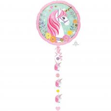 Round Magical Unicorn Jumbo Drop-A-Line Holographic Foil Balloon 81cm