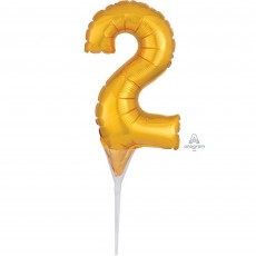 Number 2 Gold CI: Cake Pick Micro Foil Balloon Party Pick