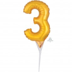 Number 3 Gold CI: Cake Pick Micro Foil Balloon Party Pick