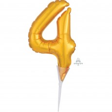 Number 4 Gold CI: Cake Pick Micro Foil Balloon Party Pick