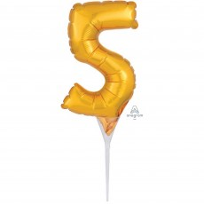 Number 5 Gold CI: Cake Pick Micro Foil Balloon Party Pick