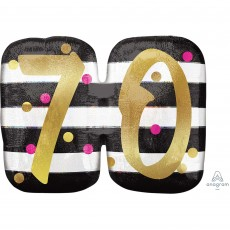 70th Birthday Pink & Gold Milestone SuperShape Holographic Shaped Balloon 63cm x 50cm