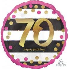 Round 70th Birthday Pink & Gold Milestone Standard Foil Balloon 45cm