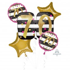 70th Birthday Pink & Gold Milestone Bouquet Foil Balloons Pack of 5