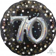 Round 70th Birthday Sparkling Celebration Multi-Balloon Holographic Shaped Balloon 91cm