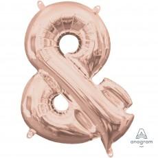 Rose Gold Ampersand Symbol CI: & Shaped Balloon 40cm