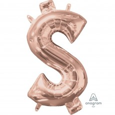 Dollar Sign Rose Gold CI: Shaped Balloon