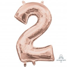 Number 2 Party Decorations - Shaped Balloon CI: Number 2 Rose Gold