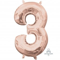 Number 3 Party Decorations - Shaped Balloon CI: Number 3 Rose Gold
