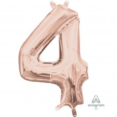 Number 4 Party Decorations - Shaped Balloon CI: Number 4 Rose Gold