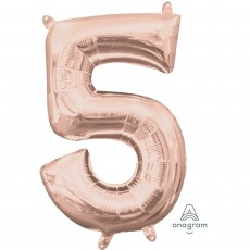 Number 5 Party Decorations - Shaped Balloon CI: Number 5 Rose Gold