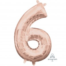 Number 6 Party Decorations - Shaped Balloon CI: Number 6 Rose Gold