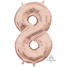Number 8 Party Decorations - Shaped Balloon CI: Number 8 Rose Gold