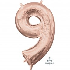 Number 9 Party Decorations - Shaped Balloon CI: Number 9 Rose Gold