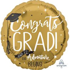 Round Graduation Jumbo HX Congrats Grad and so The Adventure Begins! Foil Balloon 71cm