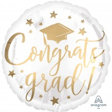Graduation White & Gold Standard HX Foil Balloon