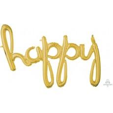 Gold Happy Birthday CI: Script Phrase happy Shaped Balloon 99cm x 68cm