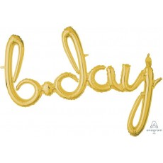 Gold Happy Birthday CI: Script Phrase b.day Shaped Balloon 93cm x 68cm