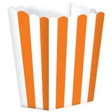Orange & White Stripes Small Popcorn Favour Boxes 13cm x 9.5cm Pack of 5