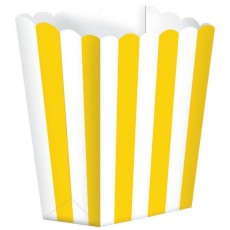 Sunshine Yellow & White Stripes Small Popcorn Favour Boxes 13cm x 9.5cm Pack of 5