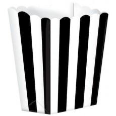 Black & White Stripes Small Popcorn Favour Boxes 13cm x 9.5cm Pack of 5