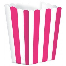Bright Pink & White Stripes Small Popcorn Favour Boxes 13cm x 9.5cm Pack of 5