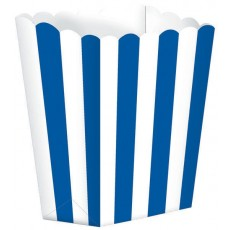 Bright Royal Blue & White Stripes Small Popcorn Favour Boxes 13cm x 9.5cm Pack of 5
